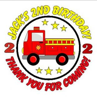 Personalised Fire Engine Party Stickers